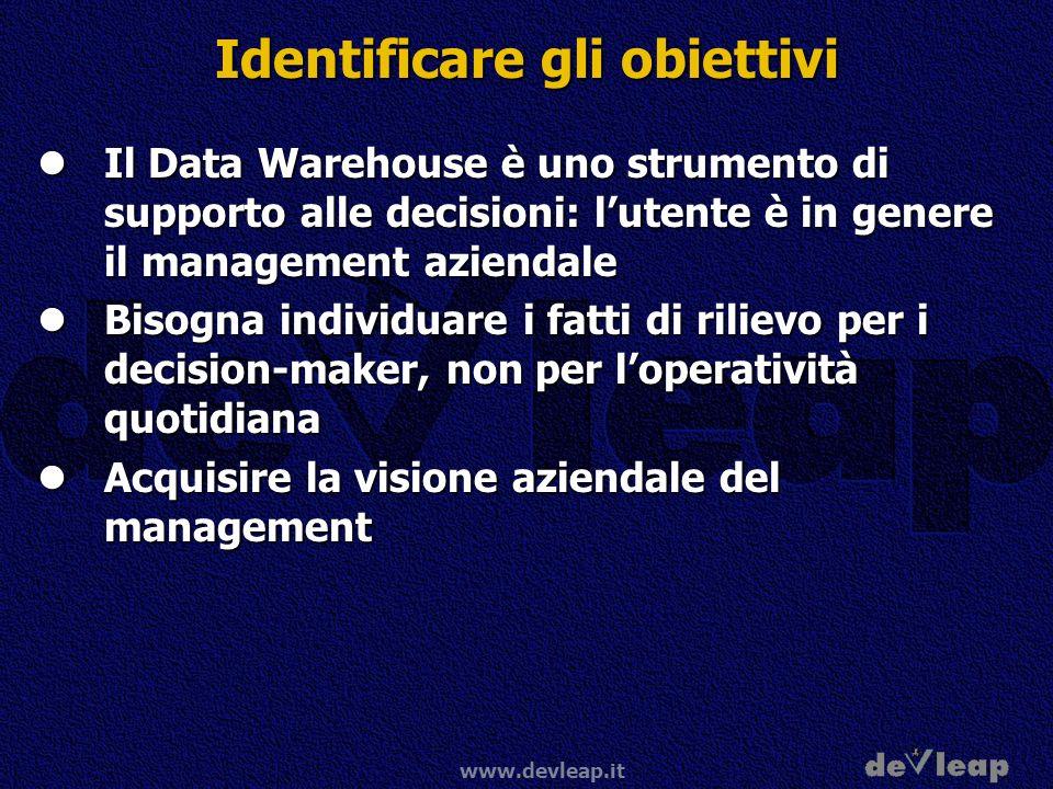 www.devleap.it Identificare gli obiettivi Il Data Warehouse è uno strumento di supporto alle decisioni: lutente è in genere il management aziendale Il