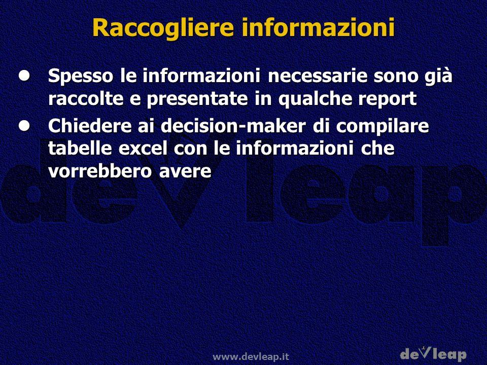 www.devleap.it Raccogliere informazioni Spesso le informazioni necessarie sono già raccolte e presentate in qualche report Spesso le informazioni nece