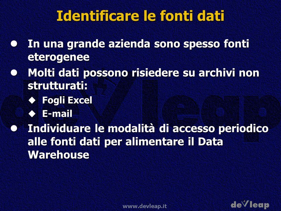 www.devleap.it Identificare le fonti dati In una grande azienda sono spesso fonti eterogenee In una grande azienda sono spesso fonti eterogenee Molti