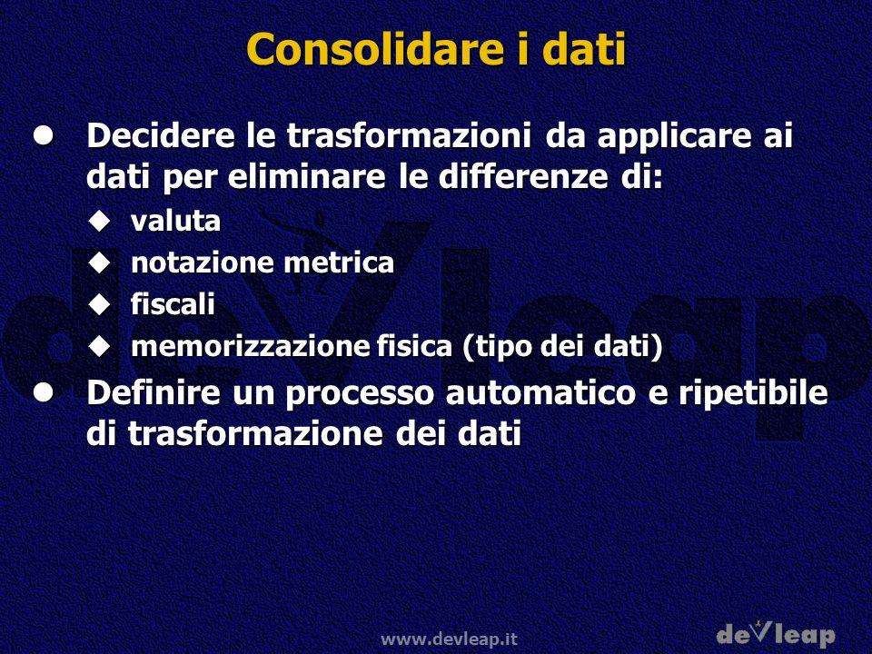 www.devleap.it Consolidare i dati Decidere le trasformazioni da applicare ai dati per eliminare le differenze di: Decidere le trasformazioni da applic