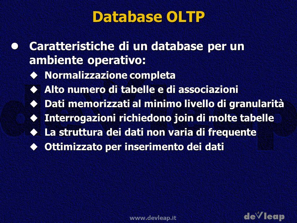 www.devleap.it Database OLTP Caratteristiche di un database per un ambiente operativo: Caratteristiche di un database per un ambiente operativo: Norma