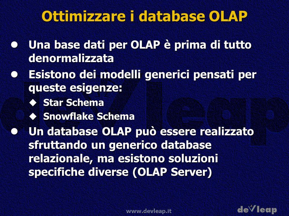 www.devleap.it Ottimizzare i database OLAP Una base dati per OLAP è prima di tutto denormalizzata Una base dati per OLAP è prima di tutto denormalizza