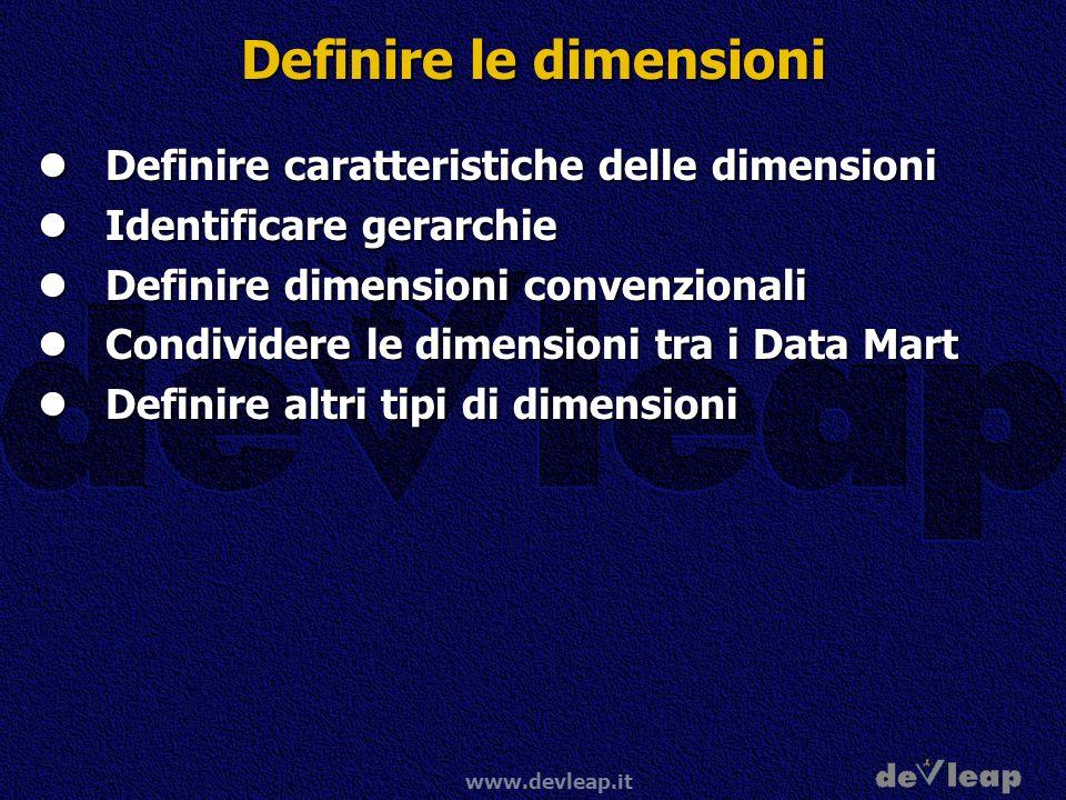 www.devleap.it Definire le dimensioni Definire caratteristiche delle dimensioni Definire caratteristiche delle dimensioni Identificare gerarchie Ident