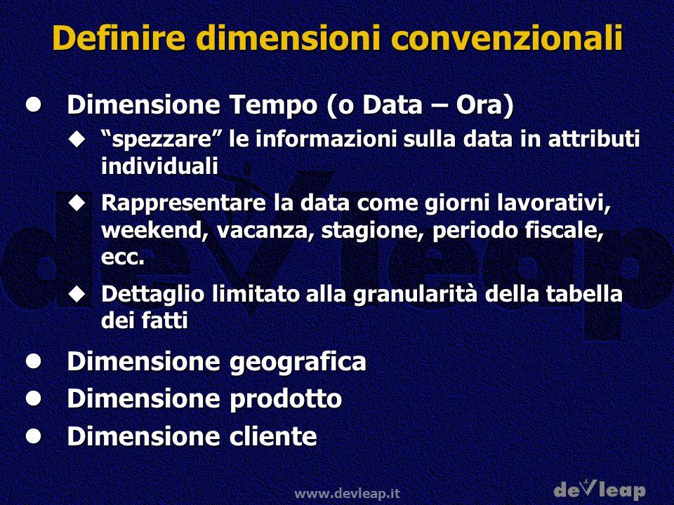www.devleap.it Definire dimensioni convenzionali Dimensione Tempo (o Data – Ora) Dimensione Tempo (o Data – Ora) spezzare le informazioni sulla data i
