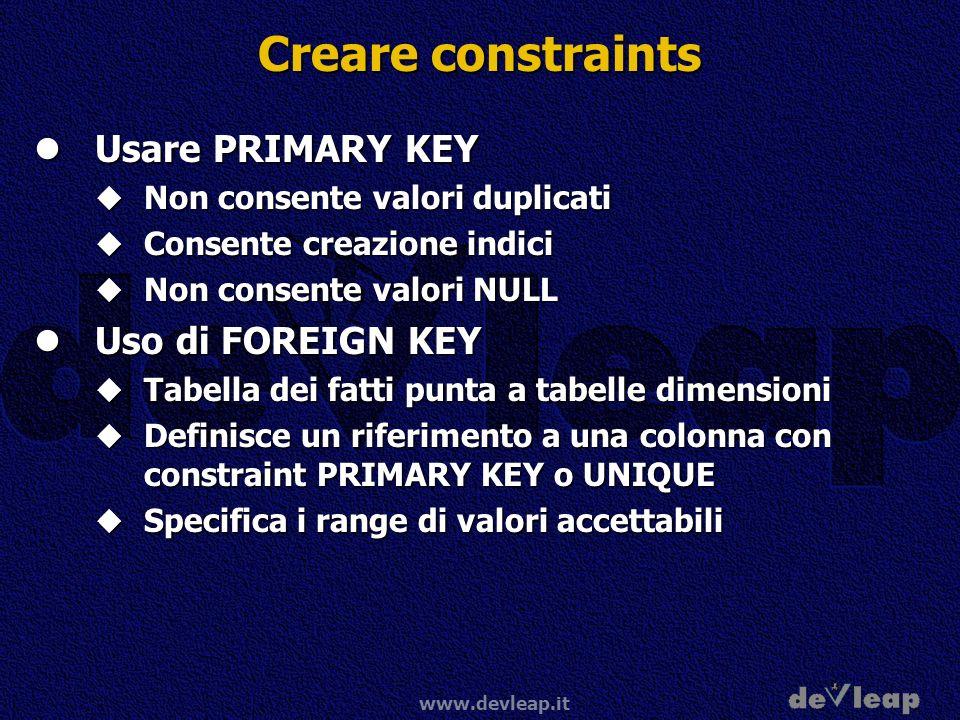 www.devleap.it Creare constraints Usare PRIMARY KEY Usare PRIMARY KEY Non consente valori duplicati Non consente valori duplicati Consente creazione i