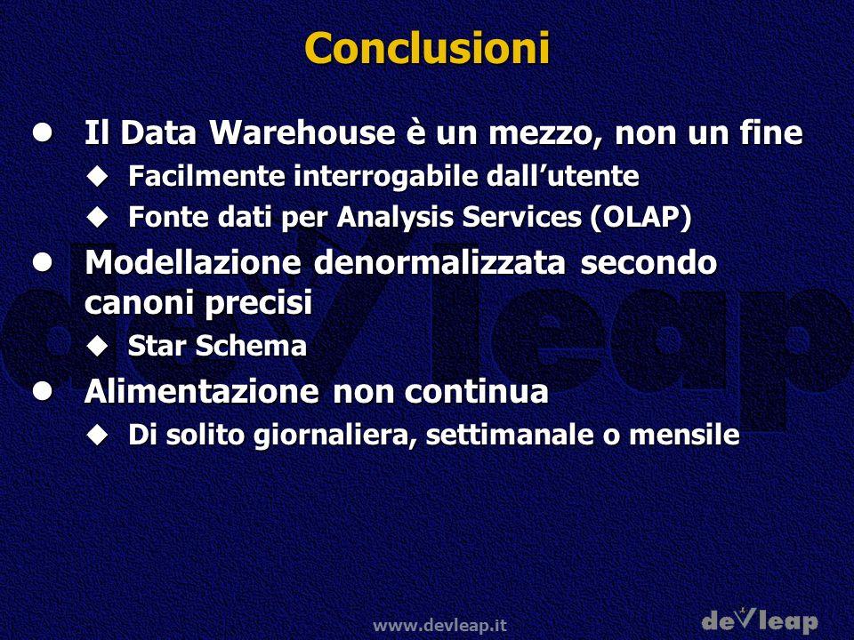 www.devleap.it Conclusioni Il Data Warehouse è un mezzo, non un fine Il Data Warehouse è un mezzo, non un fine Facilmente interrogabile dallutente Fac