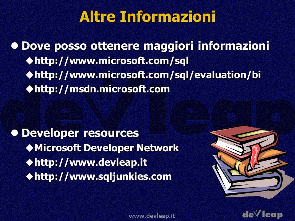 www.devleap.it Altre Informazioni Dove posso ottenere maggiori informazioni Dove posso ottenere maggiori informazioni http://www.microsoft.com/sql htt