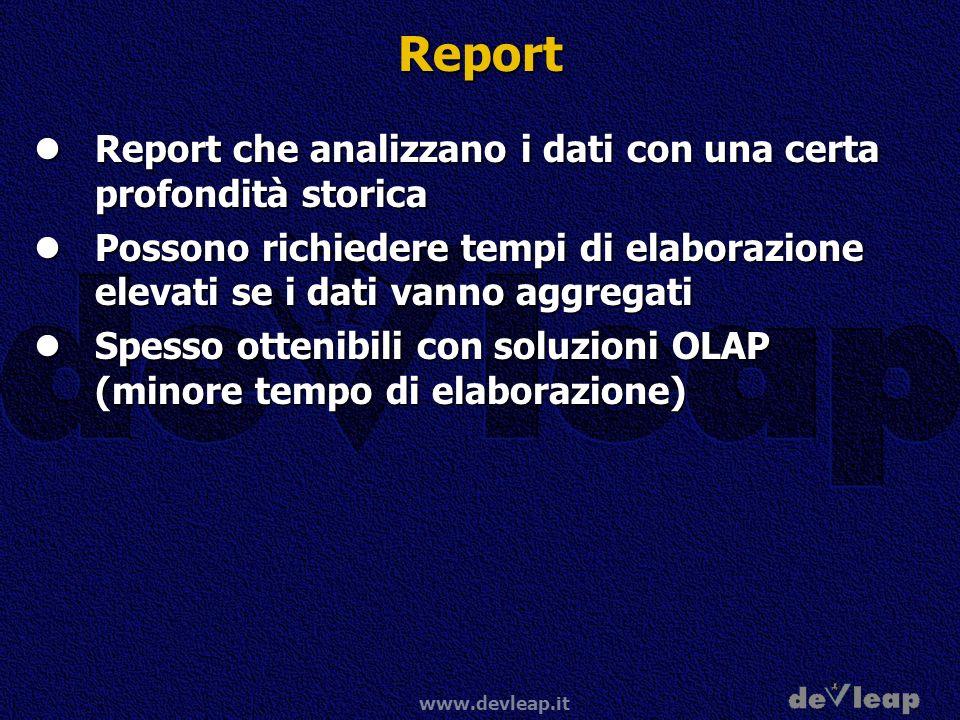 www.devleap.it Report Report che analizzano i dati con una certa profondità storica Report che analizzano i dati con una certa profondità storica Poss