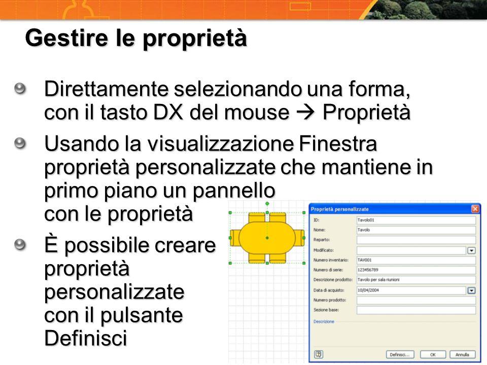 Gestire le proprietà Direttamente selezionando una forma, con il tasto DX del mouse Proprietà Usando la visualizzazione Finestra proprietà personalizz