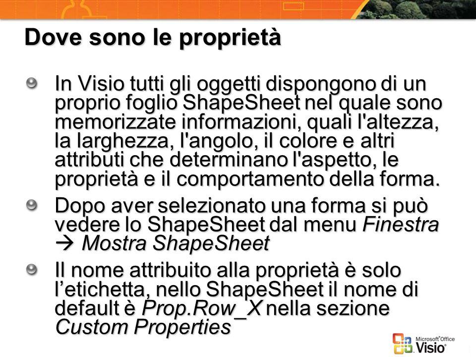 Dove sono le proprietà In Visio tutti gli oggetti dispongono di un proprio foglio ShapeSheet nel quale sono memorizzate informazioni, quali l'altezza,