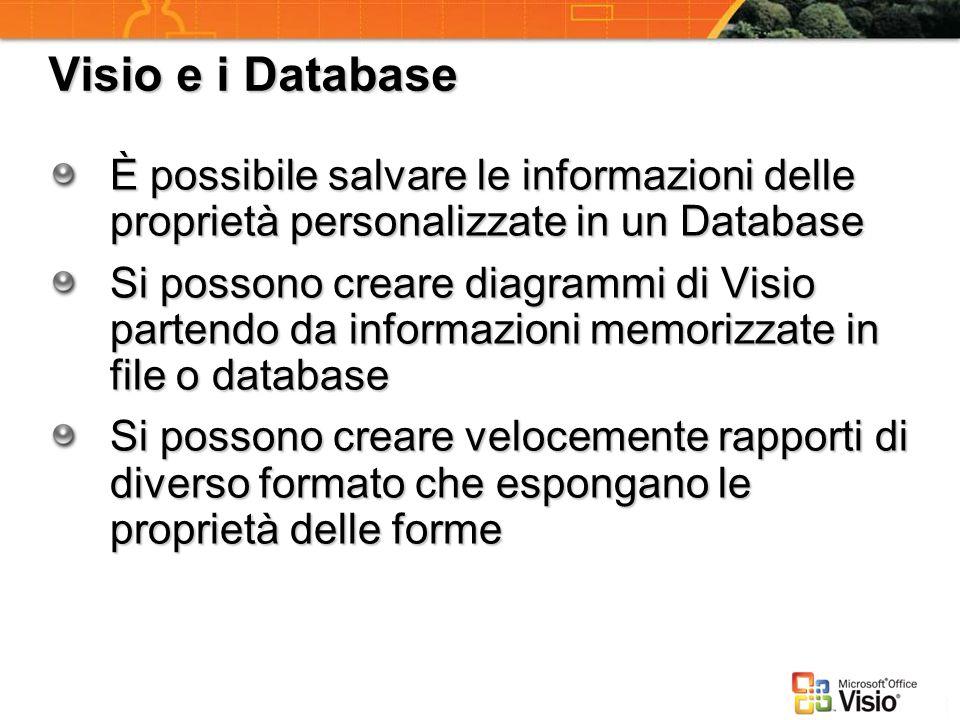 Visio e i Database È possibile salvare le informazioni delle proprietà personalizzate in un Database Si possono creare diagrammi di Visio partendo da