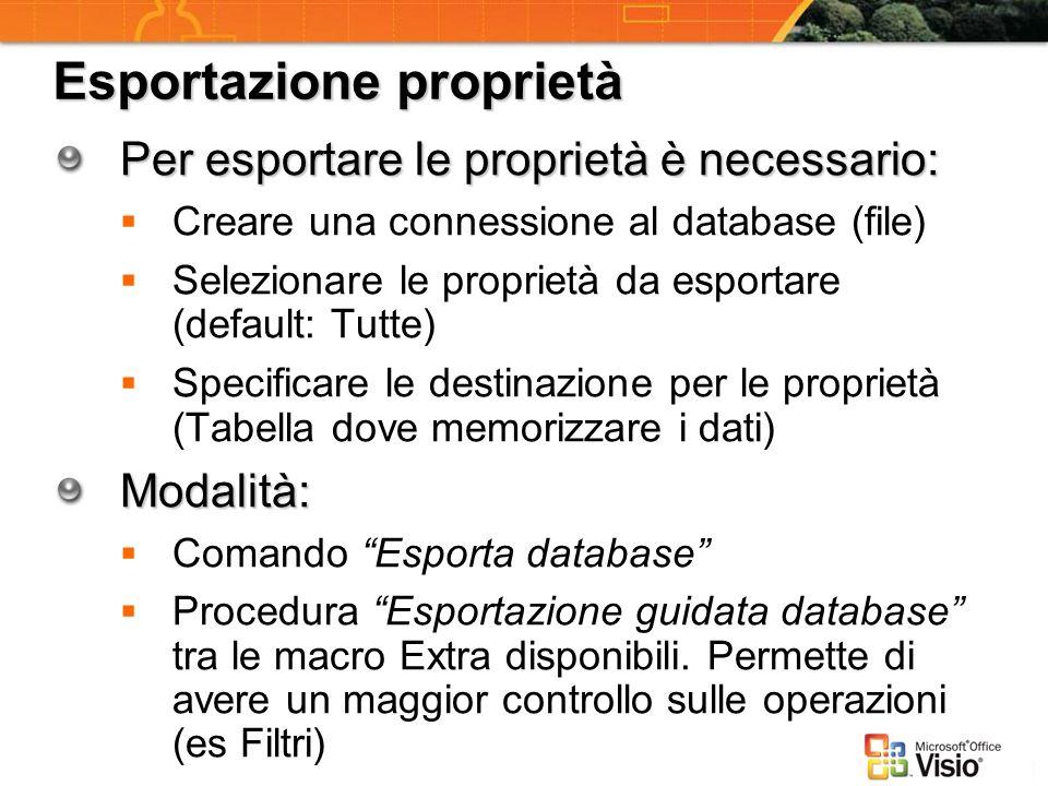 Esportazione proprietà Per esportare le proprietà è necessario: Creare una connessione al database (file) Selezionare le proprietà da esportare (defau