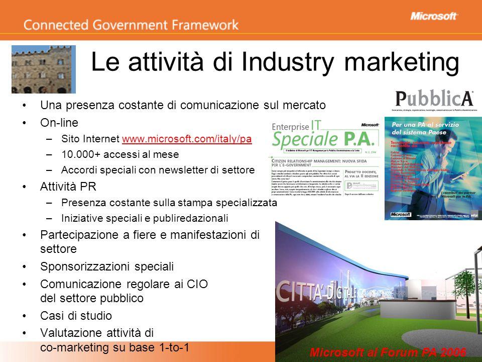 Le attività di Industry marketing Una presenza costante di comunicazione sul mercato On-line –Sito Internet www.microsoft.com/italy/pa –10.000+ access