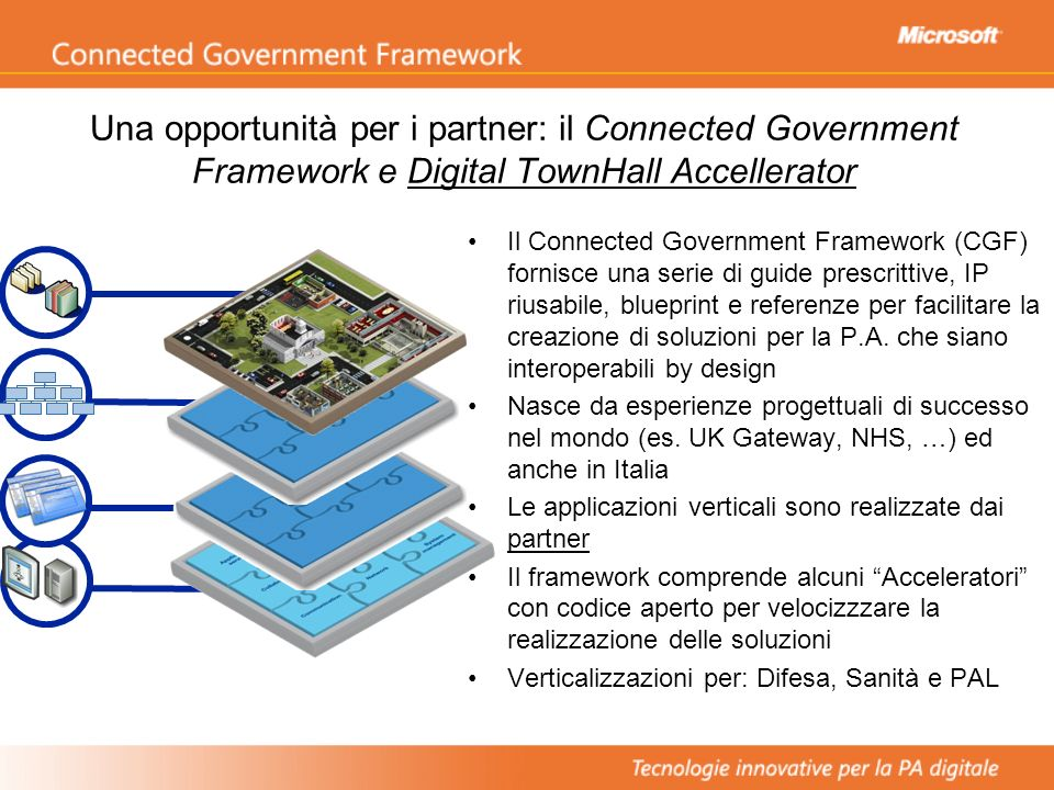 Una opportunità per i partner: il Connected Government Framework e Digital TownHall Accellerator Il Connected Government Framework (CGF) fornisce una