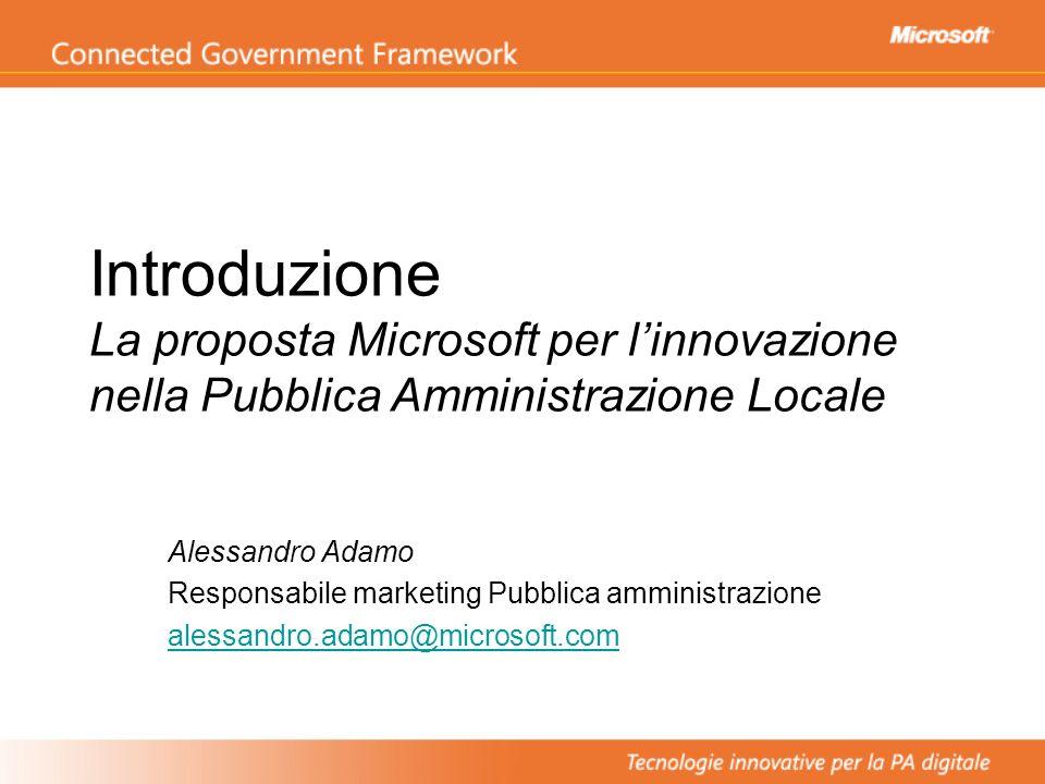 Introduzione La proposta Microsoft per linnovazione nella Pubblica Amministrazione Locale Alessandro Adamo Responsabile marketing Pubblica amministraz