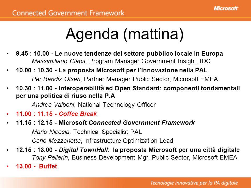 Agenda (mattina) 9.45 : 10.00 - Le nuove tendenze del settore pubblico locale in Europa Massimiliano Claps, Program Manager Government Insight, IDC 10