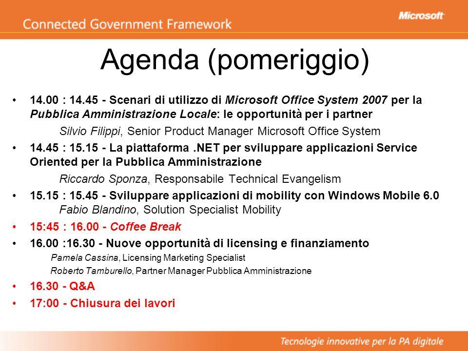 Agenda (pomeriggio) 14.00 : 14.45 - Scenari di utilizzo di Microsoft Office System 2007 per la Pubblica Amministrazione Locale: le opportunità per i p