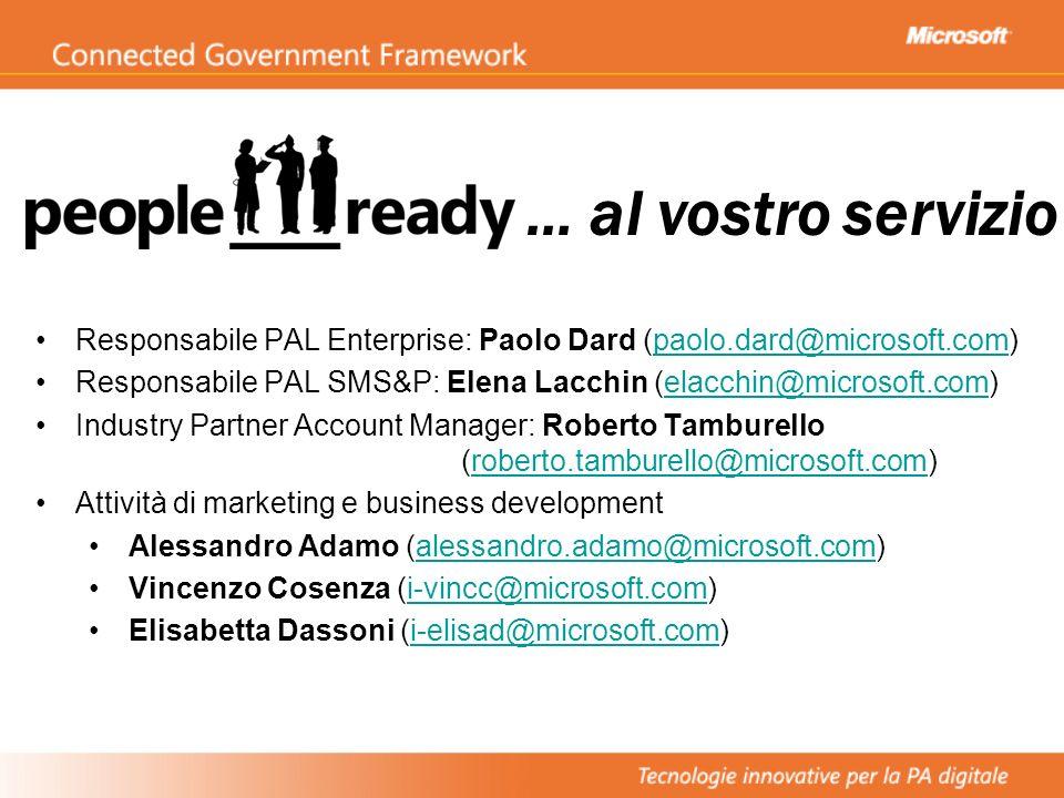 Responsabile PAL Enterprise: Paolo Dard (paolo.dard@microsoft.com)paolo.dard@microsoft.com Responsabile PAL SMS&P: Elena Lacchin (elacchin@microsoft.c