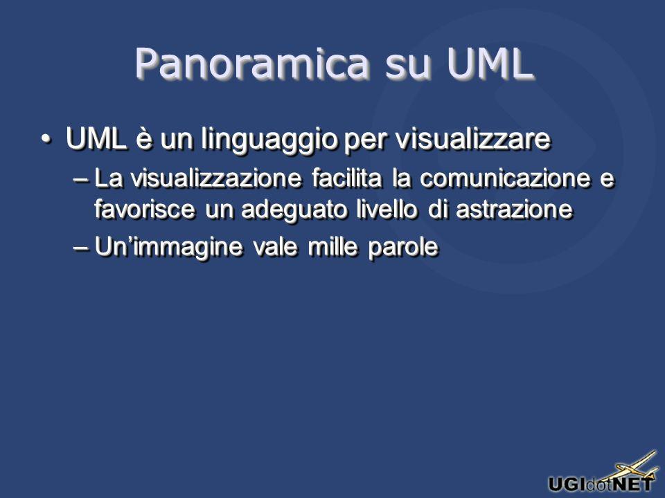 Panoramica su UML UML è un linguaggio per visualizzareUML è un linguaggio per visualizzare –La visualizzazione facilita la comunicazione e favorisce u