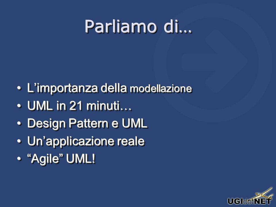 Panoramica su UML UML è un linguaggio per costruireUML è un linguaggio per costruire –UML non è un ambiente di programmazione visuale ma i suoi modelli sono nati per essere tradotti in linguaggi Object Oriented UML è un linguaggio per costruireUML è un linguaggio per costruire –UML non è un ambiente di programmazione visuale ma i suoi modelli sono nati per essere tradotti in linguaggi Object Oriented