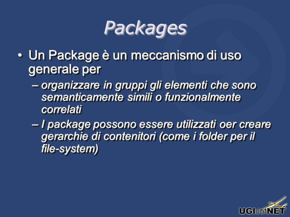 PackagesPackages Un Package è un meccanismo di uso generale perUn Package è un meccanismo di uso generale per –organizzare in gruppi gli elementi che