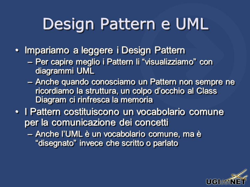 Design Pattern e UML Impariamo a leggere i Design PatternImpariamo a leggere i Design Pattern –Per capire meglio i Pattern li visualizziamo con diagra