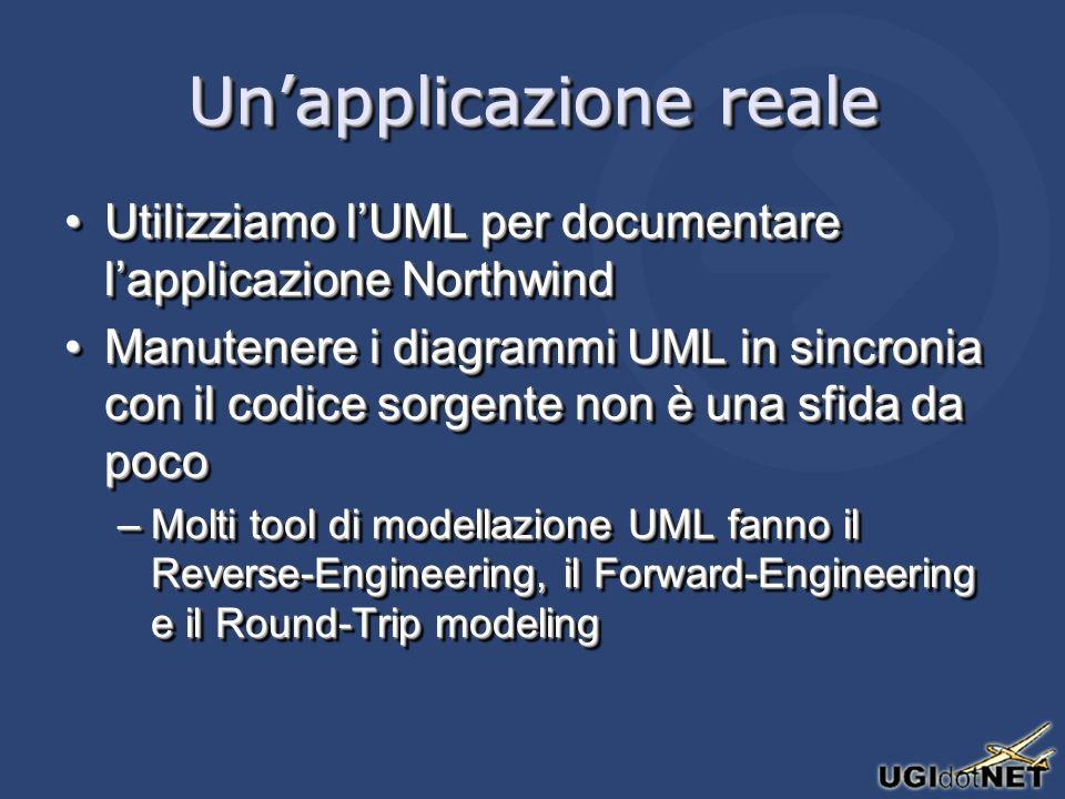 Unapplicazione reale Utilizziamo lUML per documentare lapplicazione NorthwindUtilizziamo lUML per documentare lapplicazione Northwind Manutenere i dia