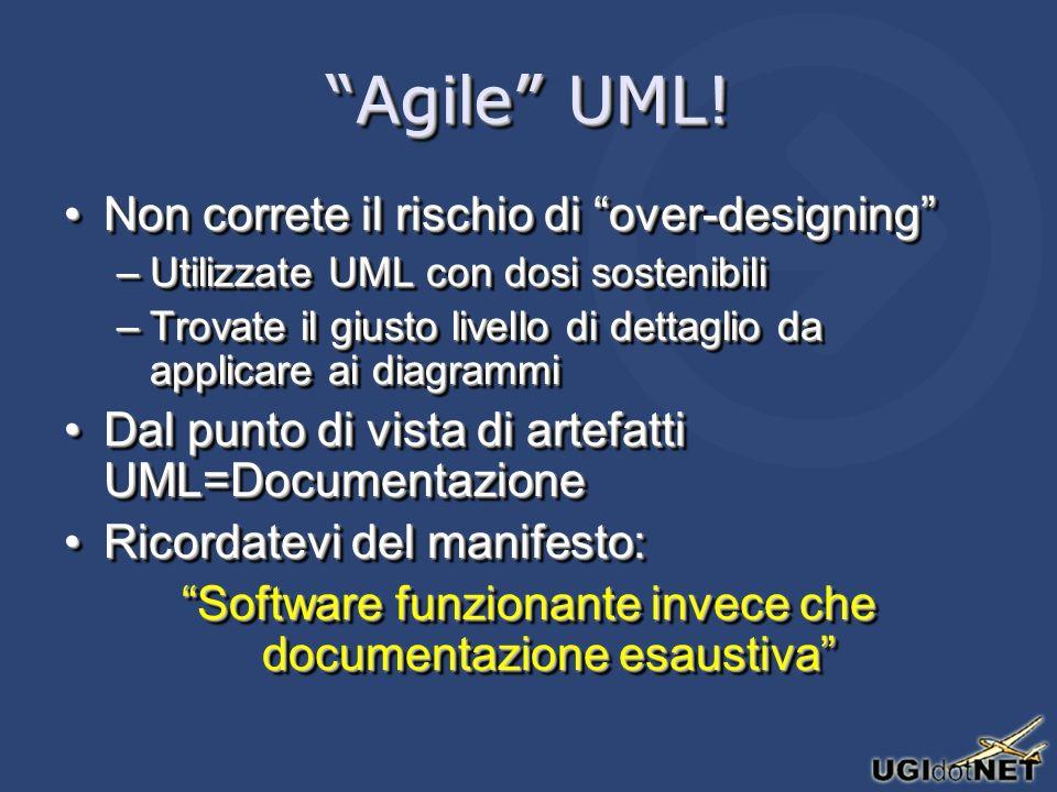 Agile UML! Non correte il rischio di over-designingNon correte il rischio di over-designing –Utilizzate UML con dosi sostenibili –Trovate il giusto li