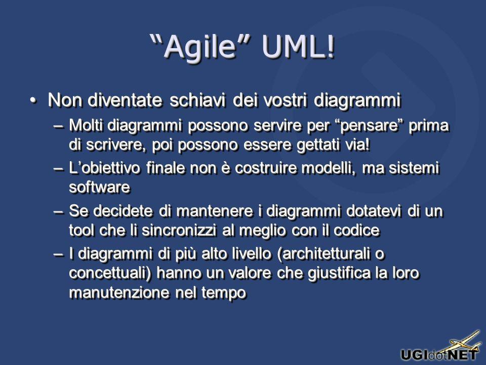 Agile UML! Non diventate schiavi dei vostri diagrammiNon diventate schiavi dei vostri diagrammi –Molti diagrammi possono servire per pensare prima di