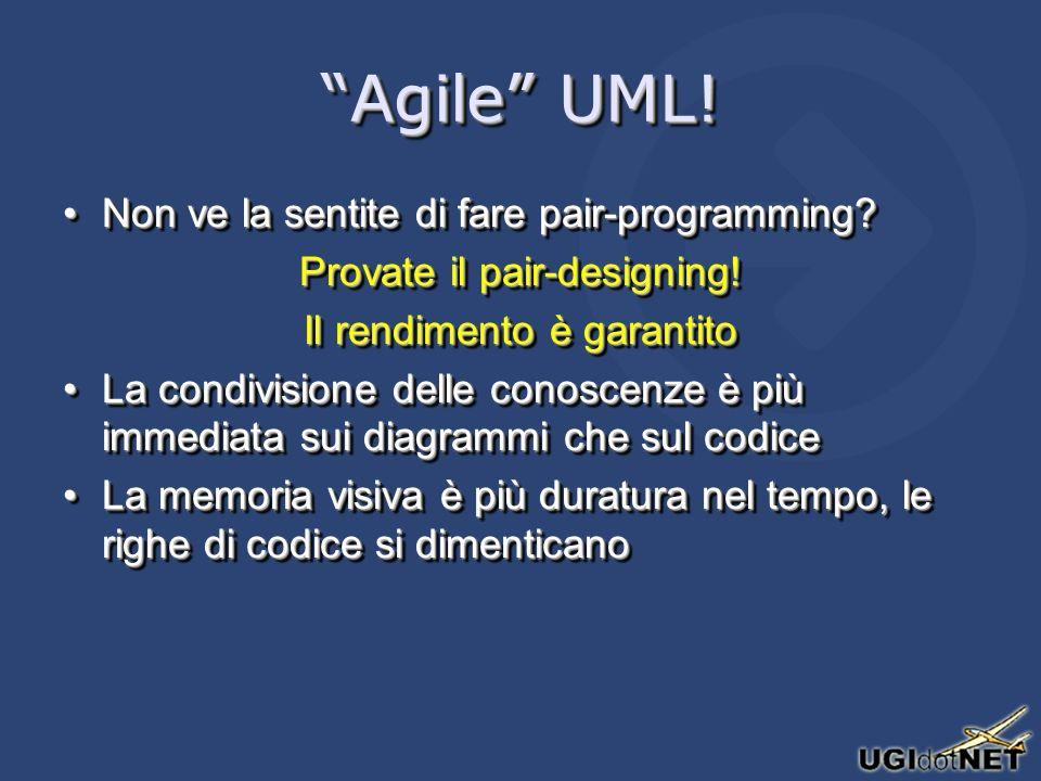 Agile UML! Non ve la sentite di fare pair-programming?Non ve la sentite di fare pair-programming? Provate il pair-designing! Il rendimento è garantito