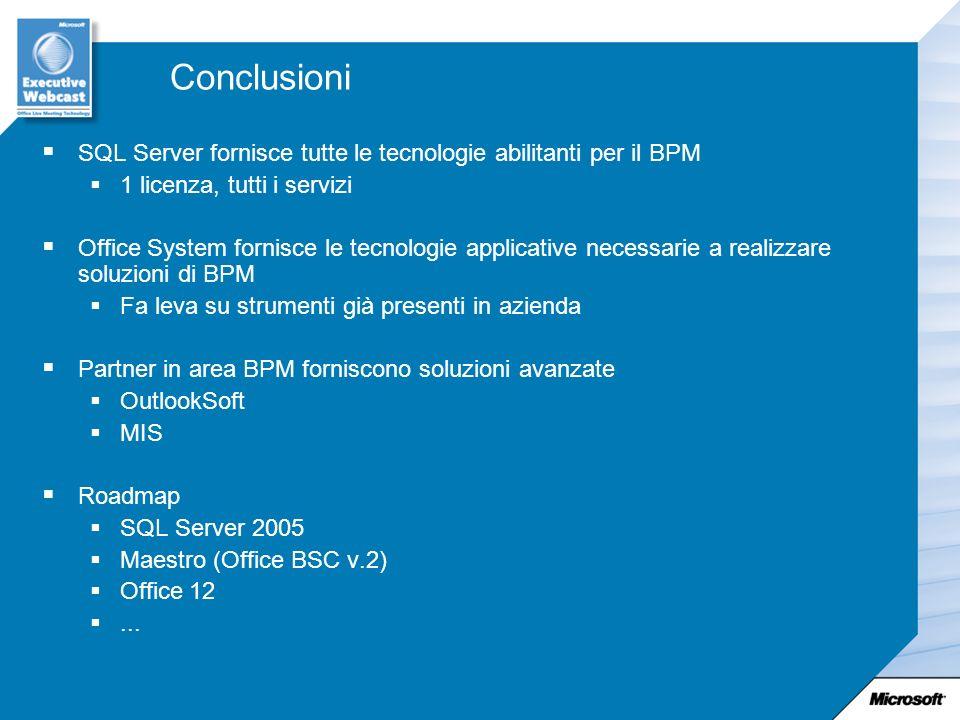 Conclusioni SQL Server fornisce tutte le tecnologie abilitanti per il BPM 1 licenza, tutti i servizi Office System fornisce le tecnologie applicative