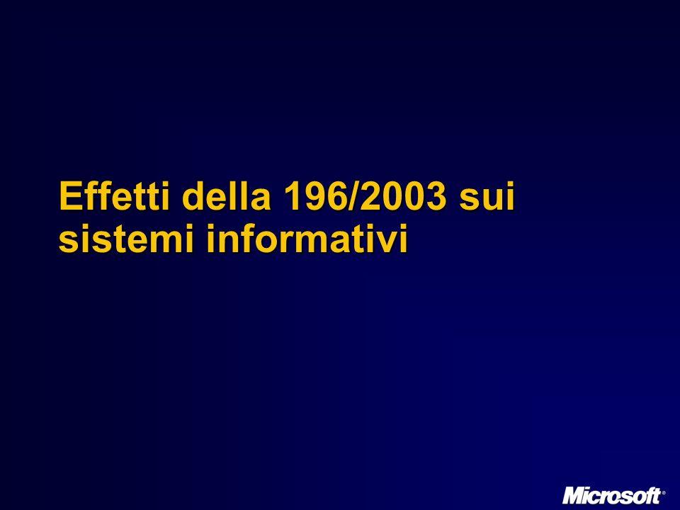 Effetti della 196/2003 sui sistemi informativi