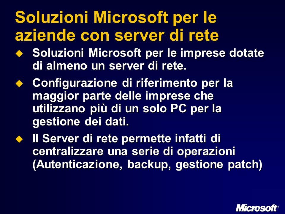 Soluzioni Microsoft per le aziende con server di rete Soluzioni Microsoft per le imprese dotate di almeno un server di rete.