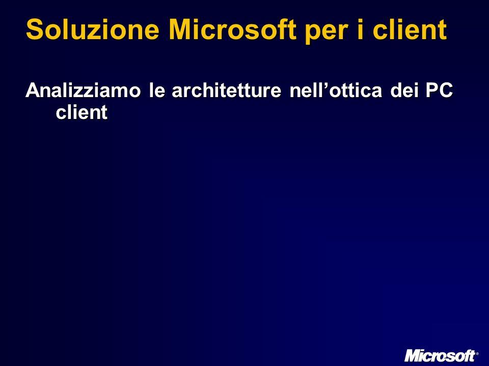 Soluzione Microsoft per i client Analizziamo le architetture nellottica dei PC client