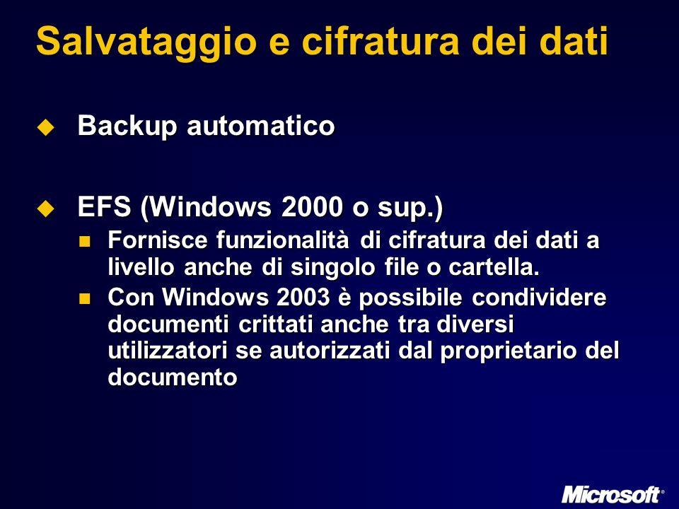 Salvataggio e cifratura dei dati Backup automatico Backup automatico EFS (Windows 2000 o sup.) EFS (Windows 2000 o sup.) Fornisce funzionalità di cifratura dei dati a livello anche di singolo file o cartella.
