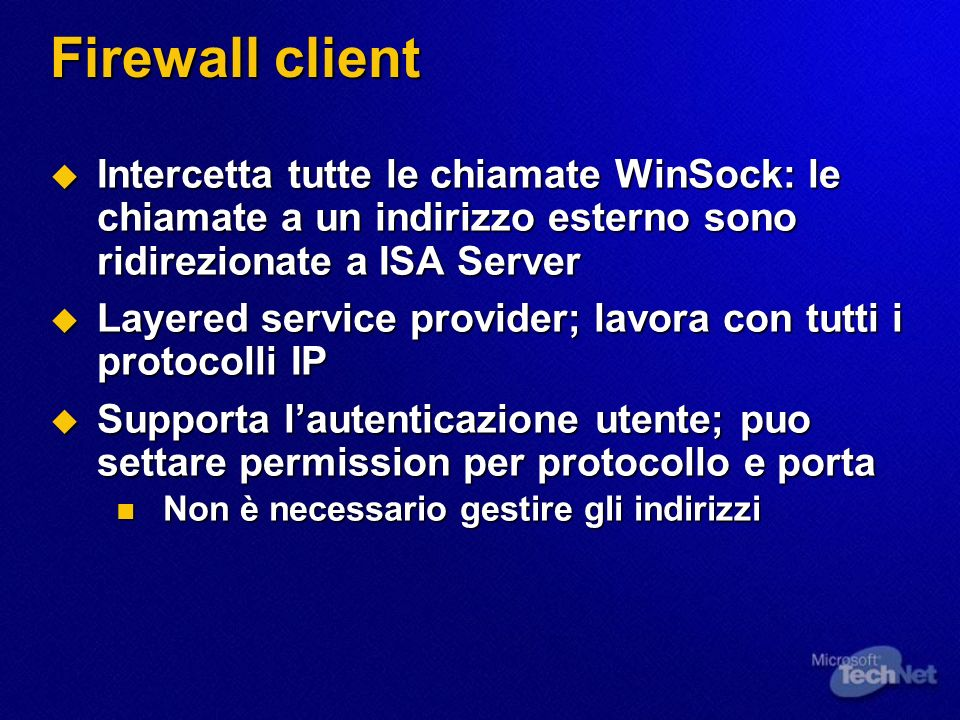 Gestione delle Network Connection Overview del Routing Overview del Routing Configurazione del Routing per le richieste dai Web Proxy Client Configurazione del Routing per le richieste dai Web Proxy Client Configurazione del Routing per le richieste dai Firewall Client e SecureNAT Client Configurazione del Routing per le richieste dai Firewall Client e SecureNAT Client Automatic Discovery Automatic Discovery