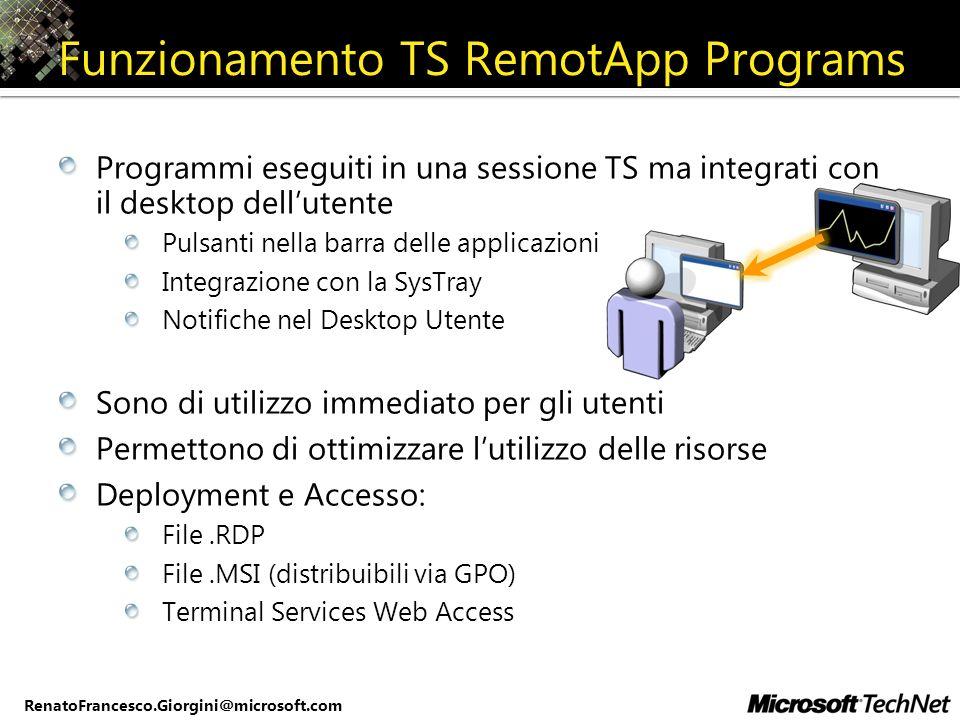 RenatoFrancesco.Giorgini@microsoft.com Funzionamento TS RemotApp Programs Programmi eseguiti in una sessione TS ma integrati con il desktop dellutente