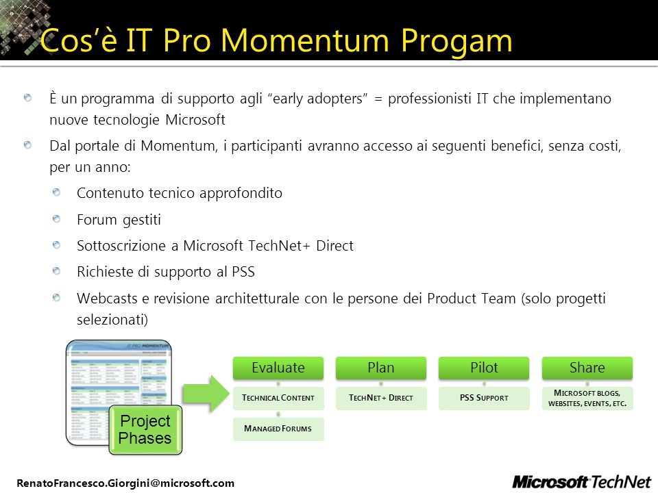RenatoFrancesco.Giorgini@microsoft.com Cosè IT Pro Momentum Progam È un programma di supporto agli early adopters = professionisti IT che implementano