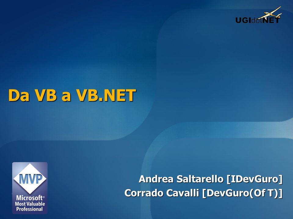 Da VB a VB.NET Andrea Saltarello [IDevGuro] Corrado Cavalli [DevGuro(Of T)]