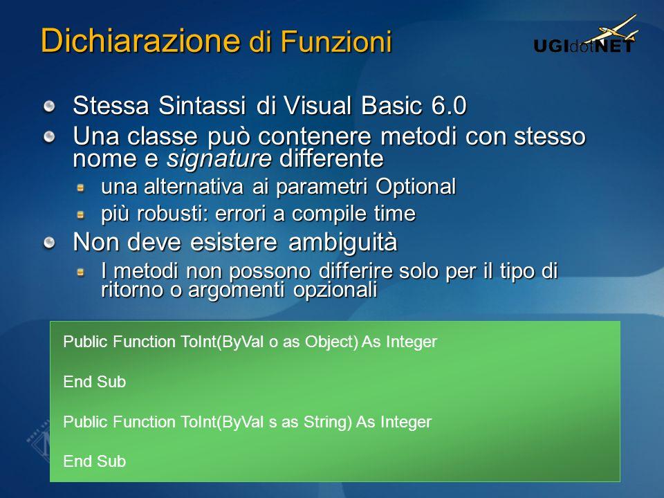 Dichiarazione di Funzioni Stessa Sintassi di Visual Basic 6.0 Una classe può contenere metodi con stesso nome e signature differente una alternativa a
