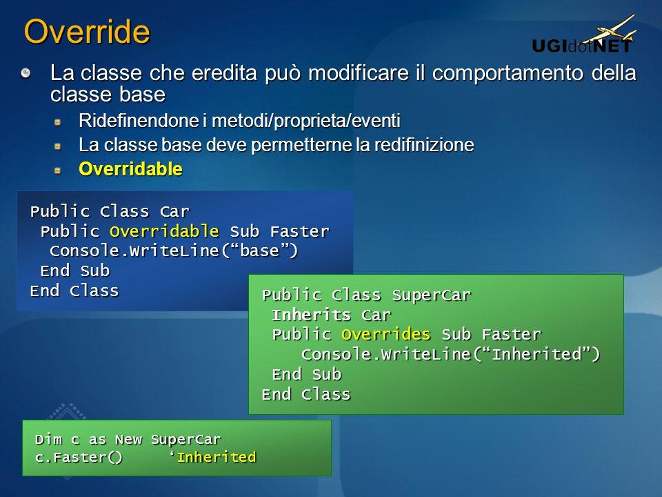 Override La classe che eredita può modificare il comportamento della classe base Ridefinendone i metodi/proprieta/eventi La classe base deve permetter