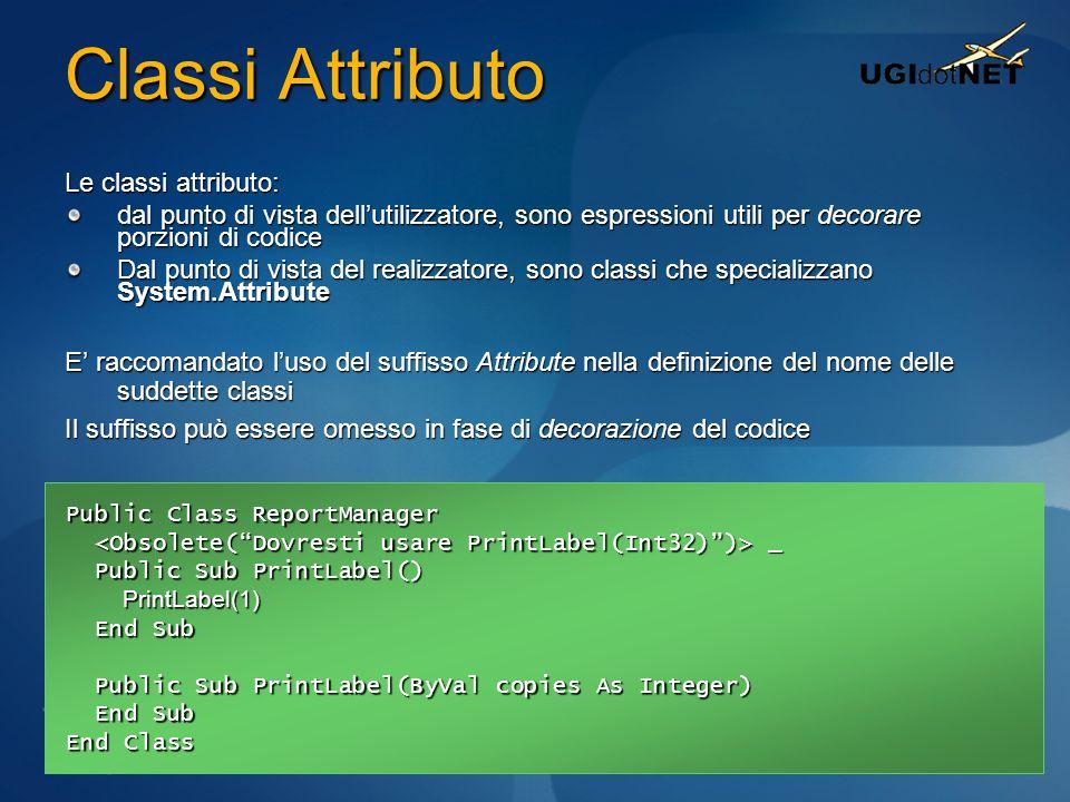 Classi Attributo Le classi attributo: dal punto di vista dellutilizzatore, sono espressioni utili per decorare porzioni di codice Dal punto di vista d