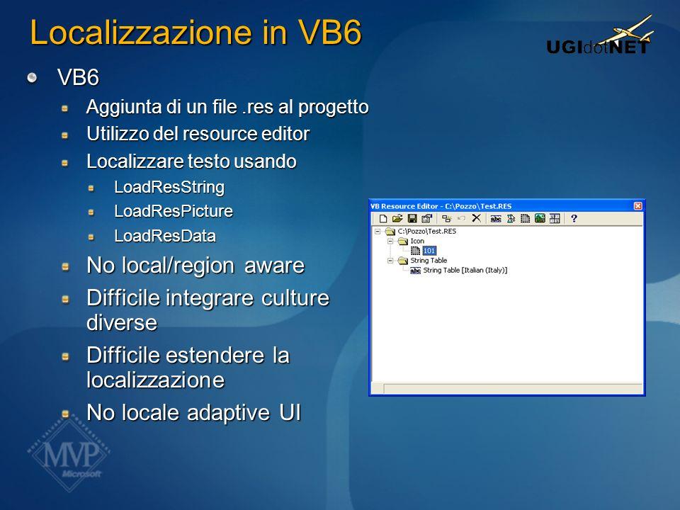 VB6 Aggiunta di un file.res al progetto Utilizzo del resource editor Localizzare testo usando LoadResStringLoadResPictureLoadResData No local/region a