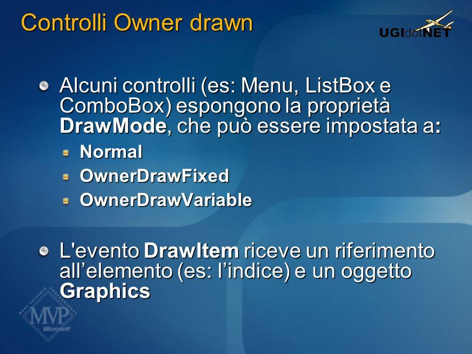Alcuni controlli (es: Menu, ListBox e ComboBox) espongono la proprietà DrawMode, che può essere impostata a: NormalOwnerDrawFixedOwnerDrawVariable L'e