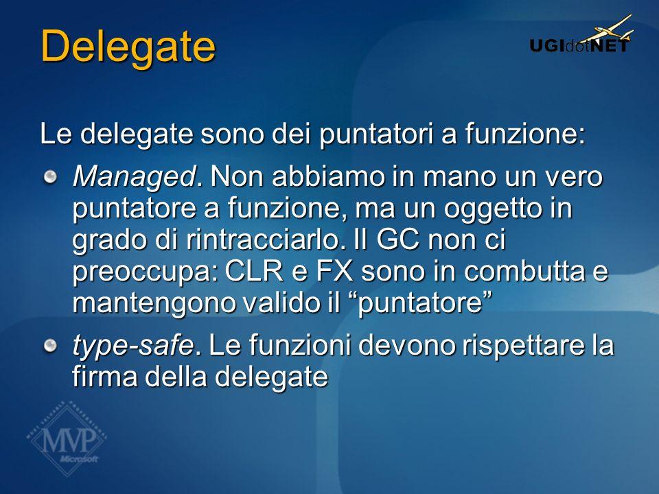 Delegate Le delegate sono dei puntatori a funzione: Managed. Non abbiamo in mano un vero puntatore a funzione, ma un oggetto in grado di rintracciarlo