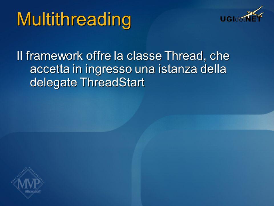 Multithreading Il framework offre la classe Thread, che accetta in ingresso una istanza della delegate ThreadStart