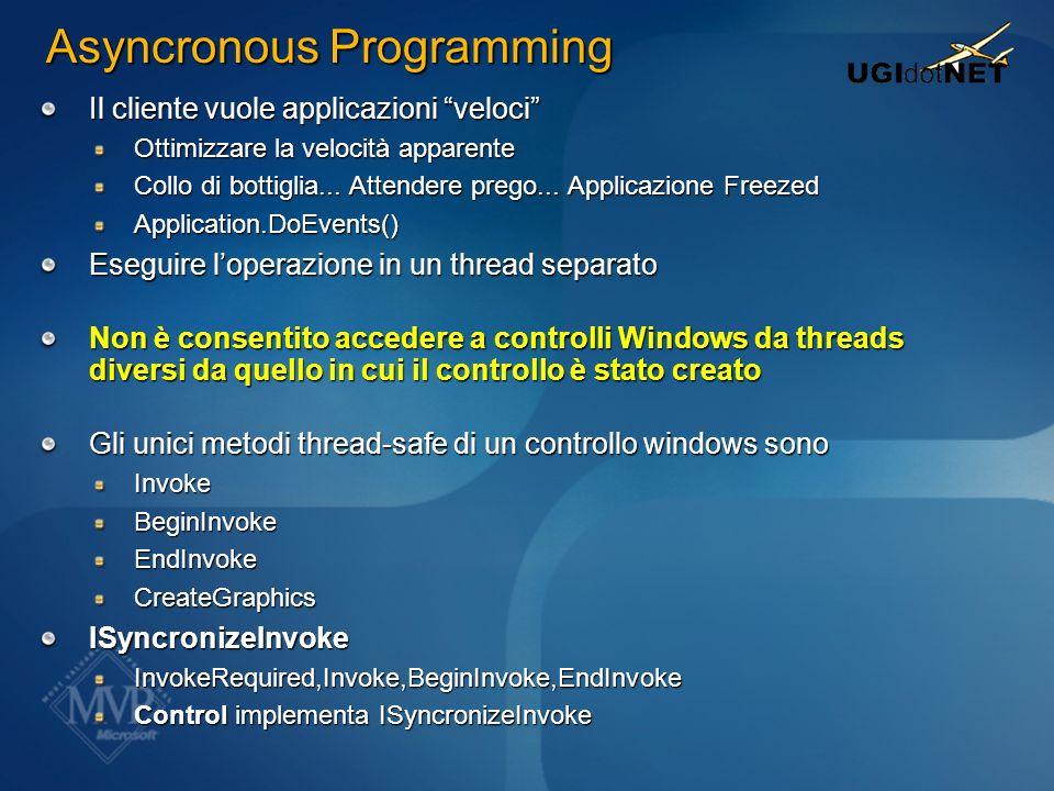 Asyncronous Programming Il cliente vuole applicazioni veloci Ottimizzare la velocità apparente Collo di bottiglia... Attendere prego... Applicazione F