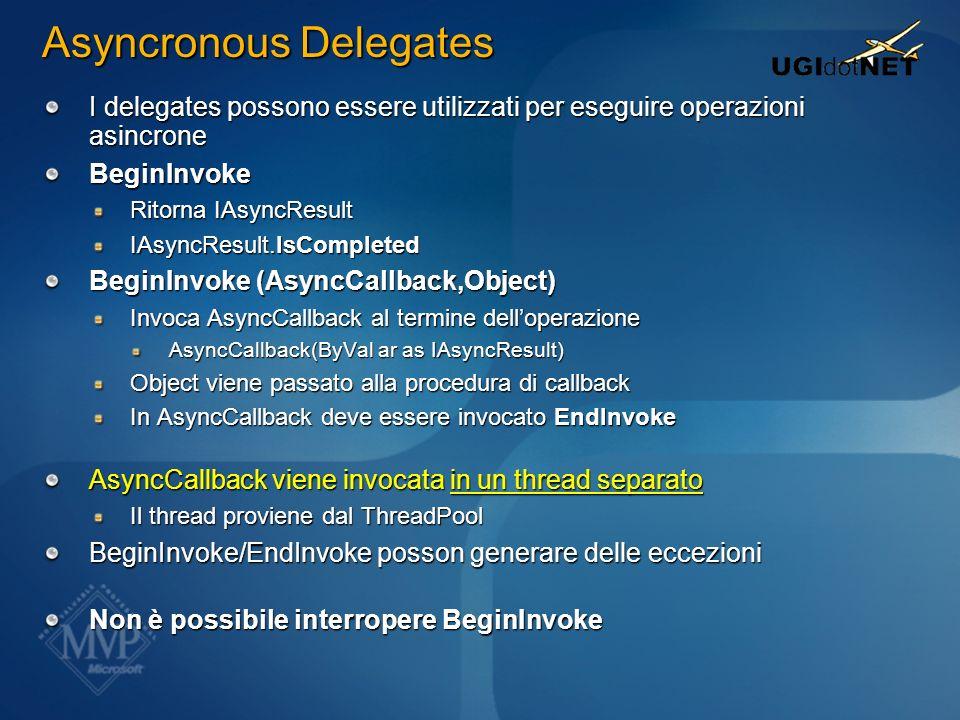 Asyncronous Delegates I delegates possono essere utilizzati per eseguire operazioni asincrone BeginInvoke Ritorna IAsyncResult IAsyncResult.IsComplete