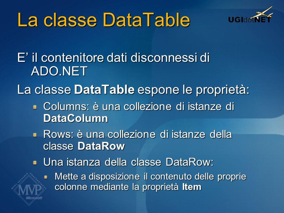 La classe DataTable E il contenitore dati disconnessi di ADO.NET La classe DataTable espone le proprietà: Columns: è una collezione di istanze di Data
