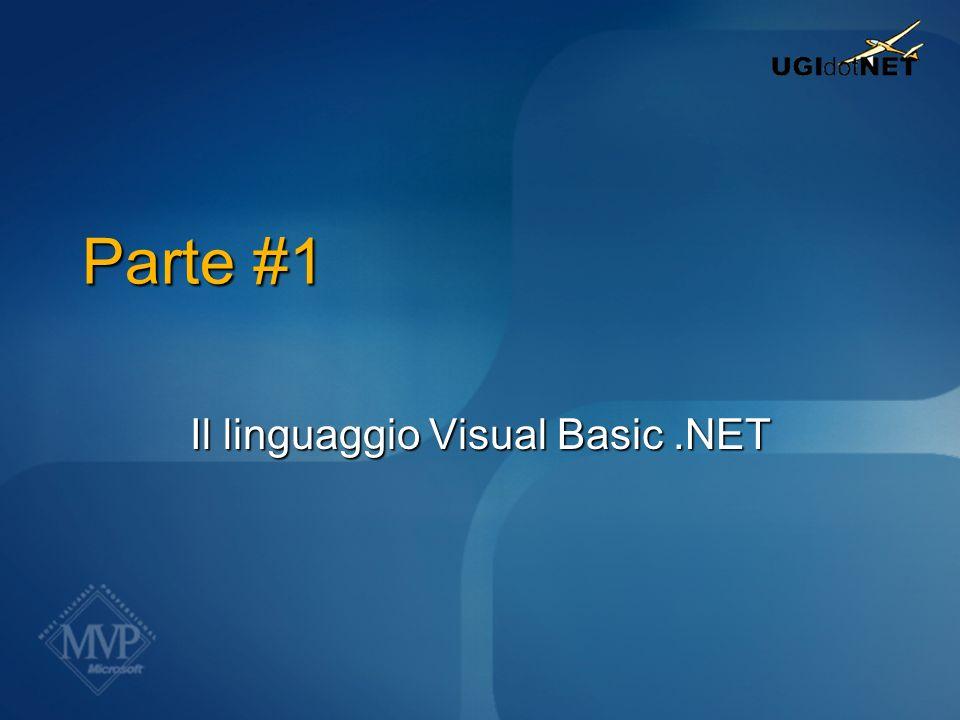 Definire classi In VB6, una classe: è un file.cls Ha come nome il nome del file (es: Customer.cls) In VB.NET, una classe: È un blocco di codice Class…End Class In un unico file ci possono essere più classi